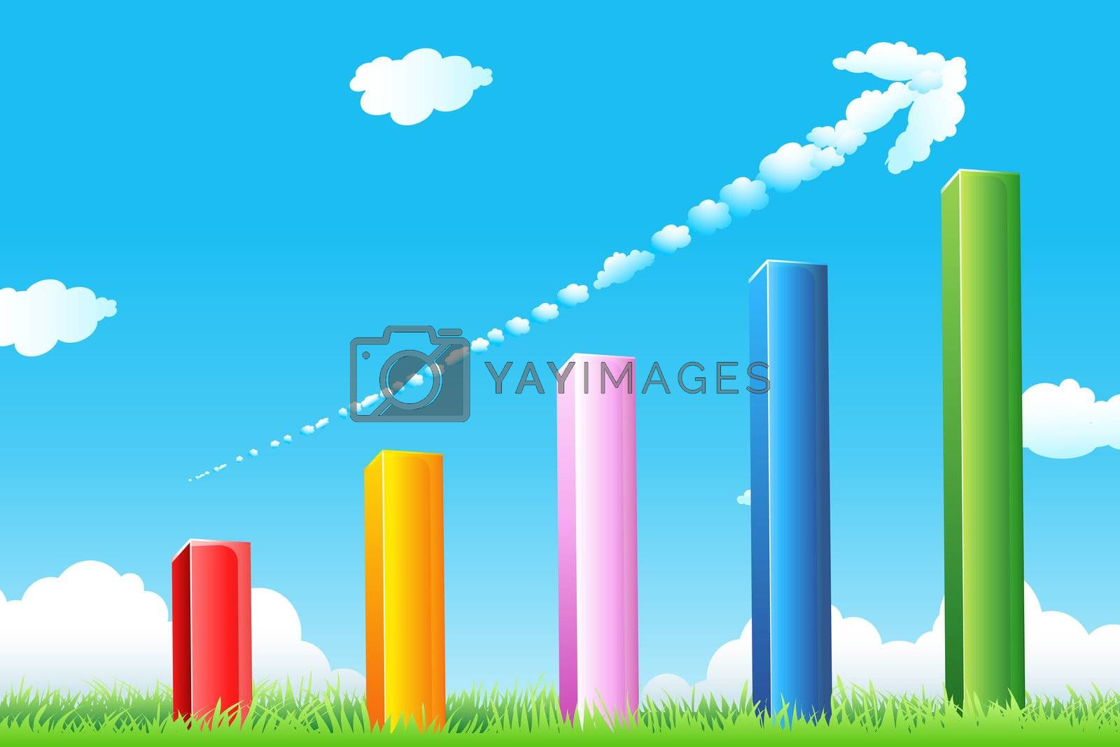 illustration of growth graph with cloudy arrow and grass