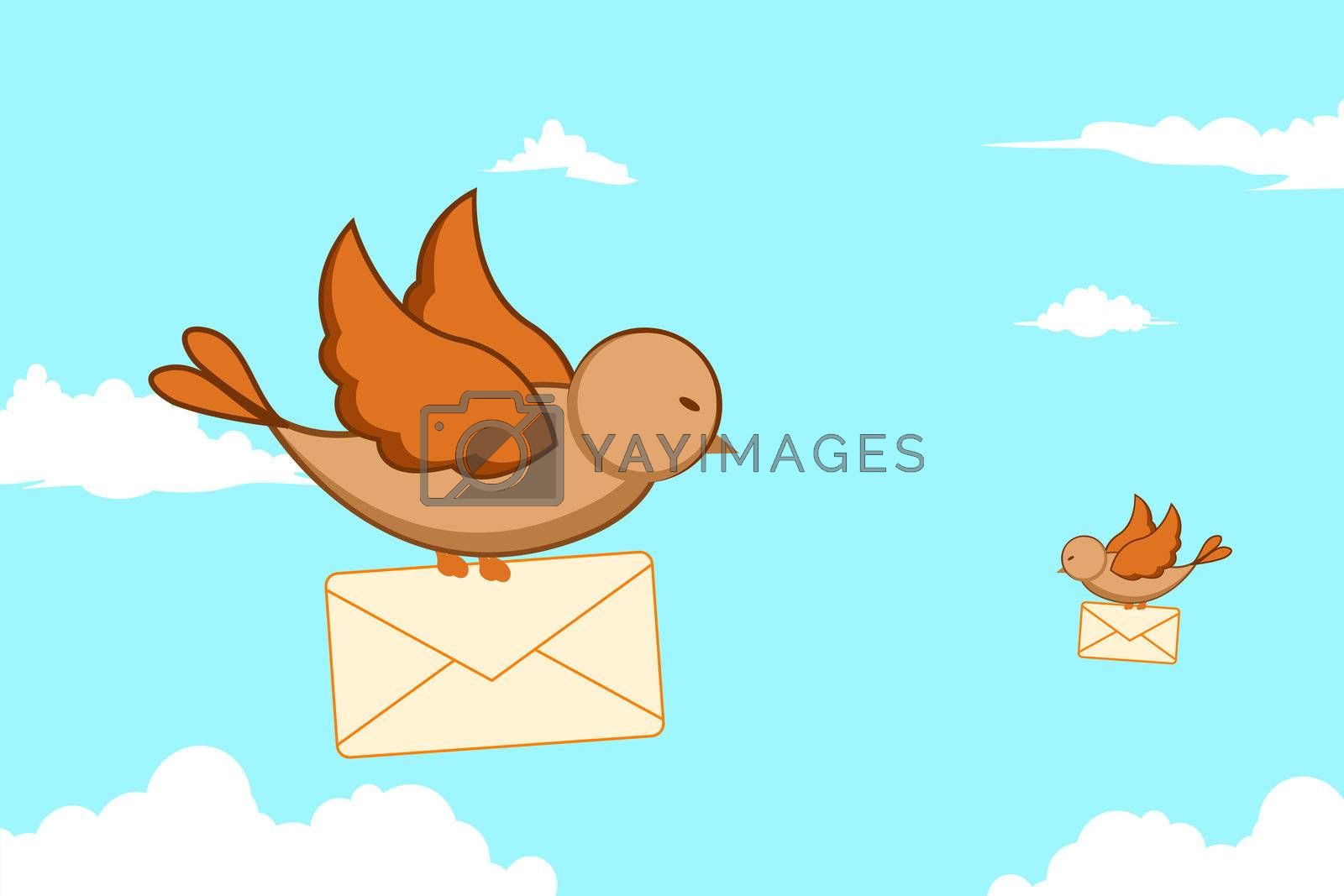 illustration of birds with letters in sky