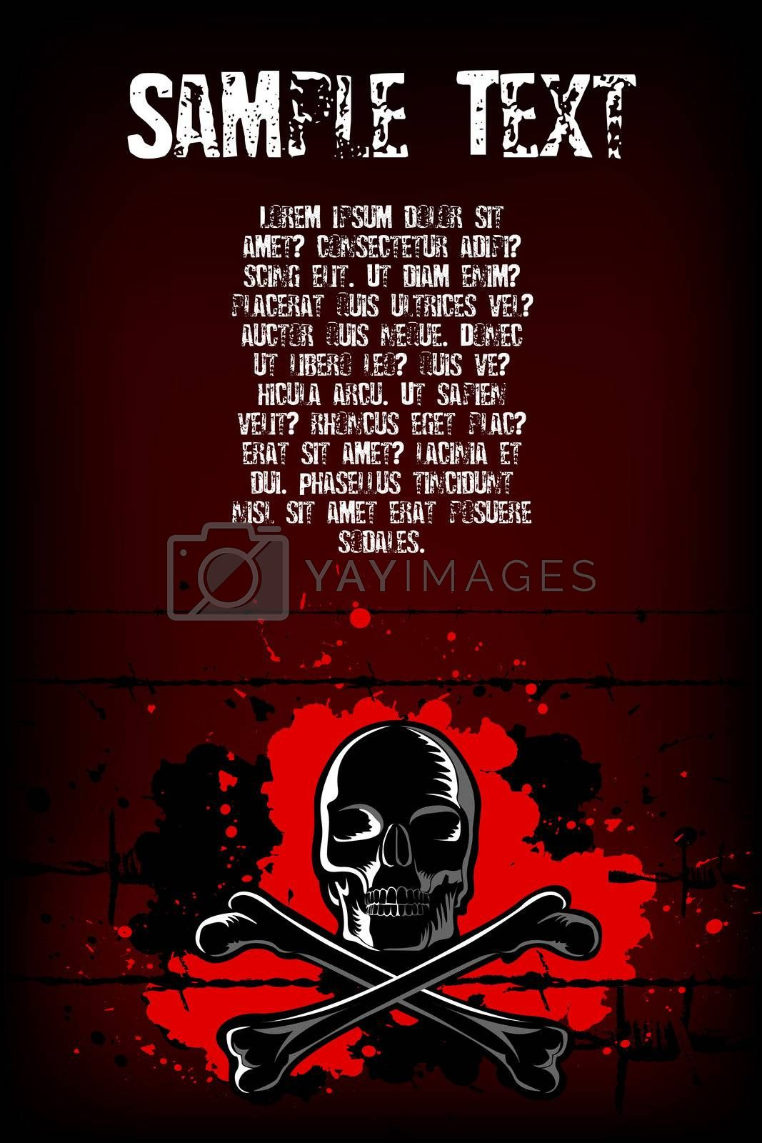 illustration of skull with cross on abstract background