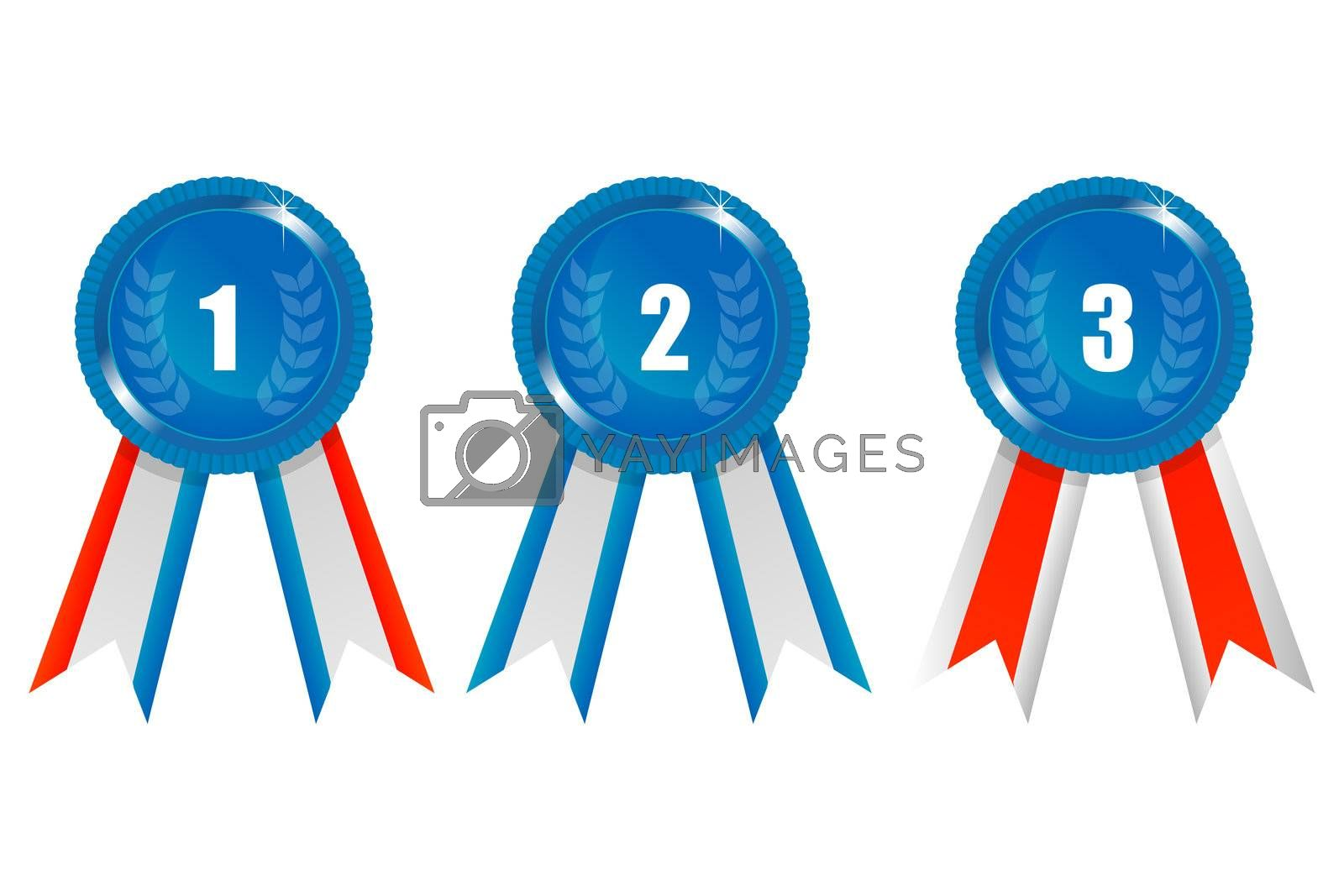 illustration of ribbon prizes on white background