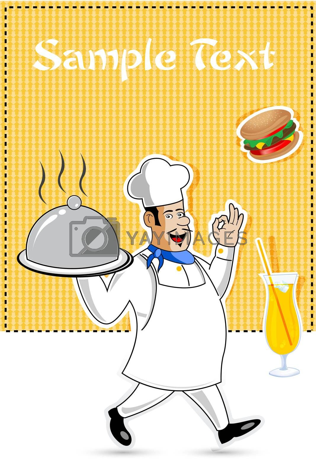 illustration of happy cook with food on abstract background