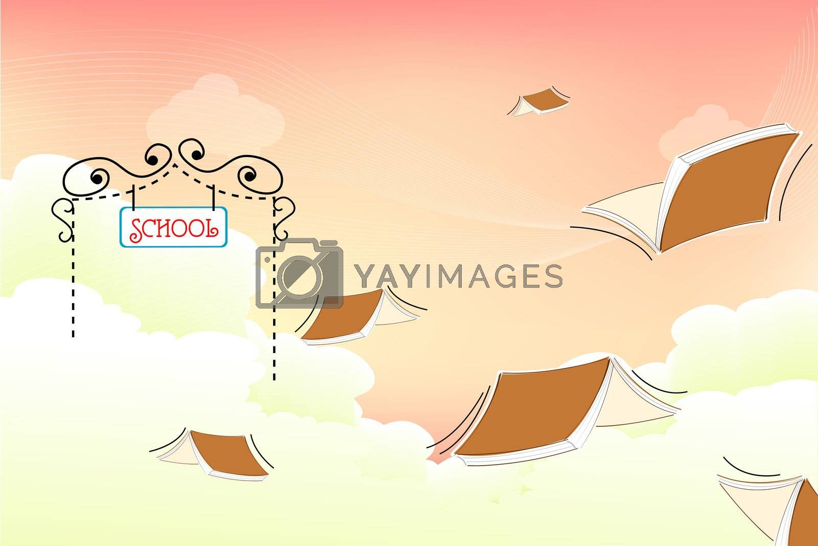 illustration of flying books at school gate on cloudy background
