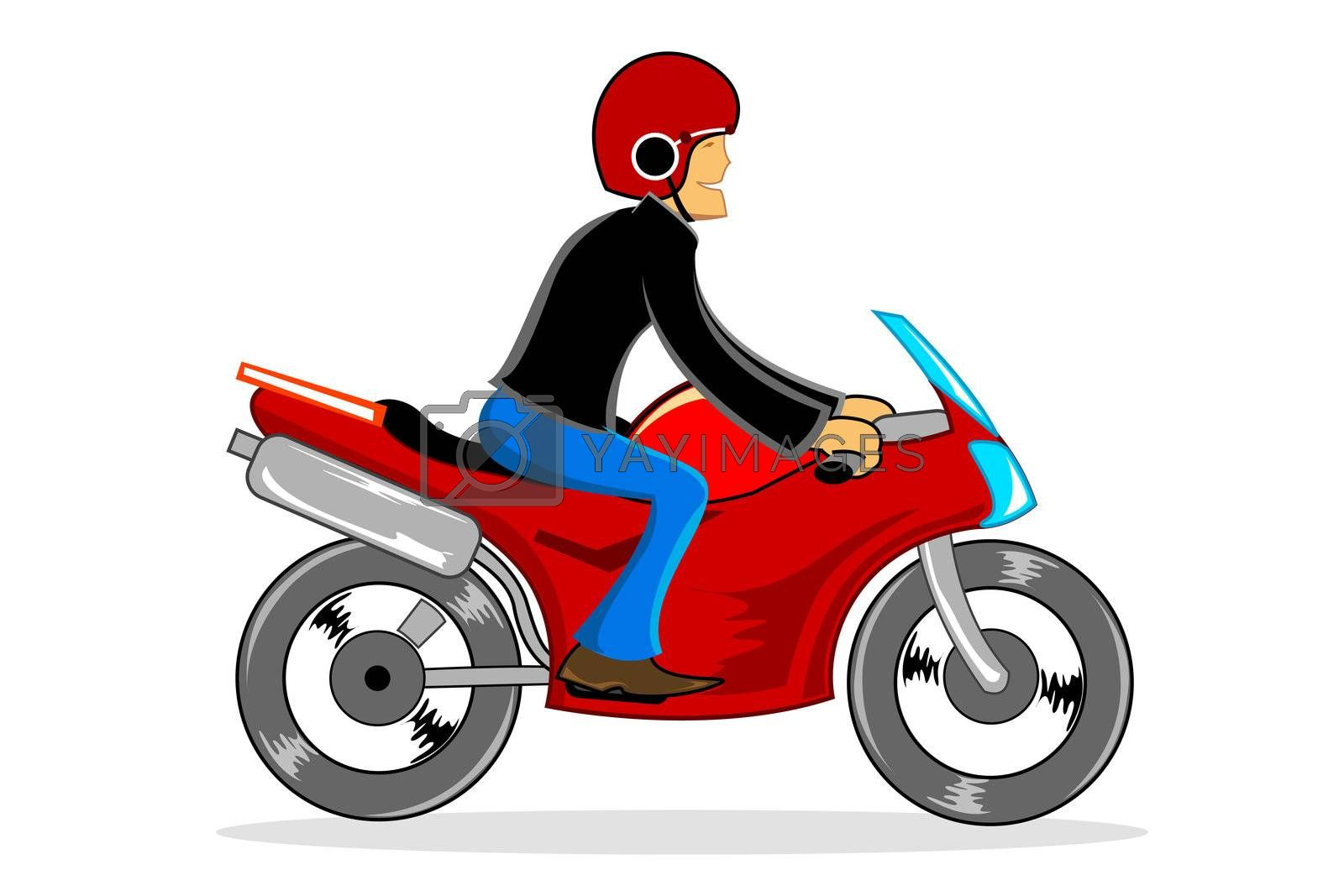 illustration of man driving bike on white background