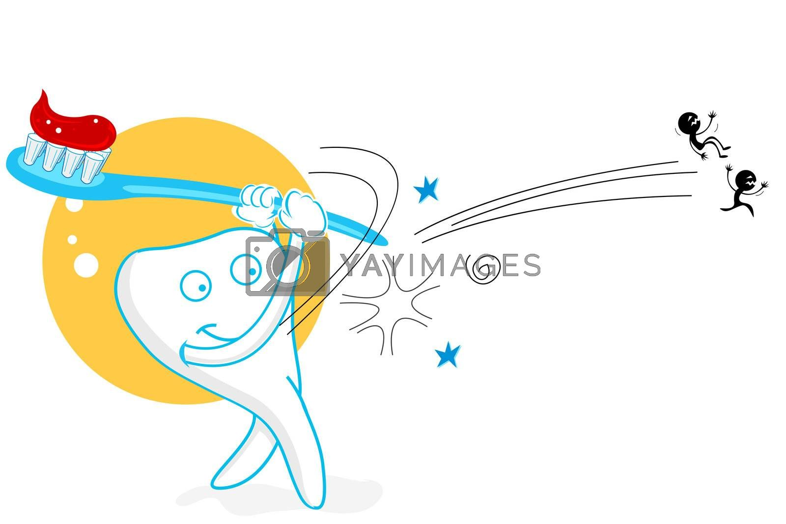 illustration of teeth playing baseball with germs on white background