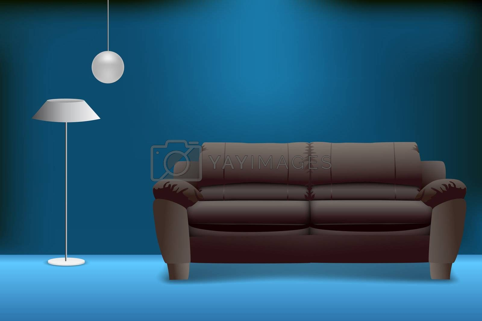 illustration of sofa set on abstract background