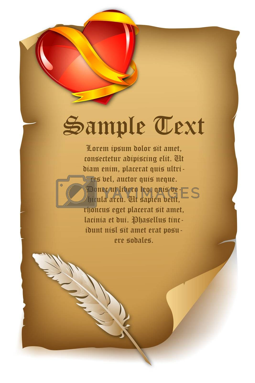 illustration of love letter with feather and heart on white background