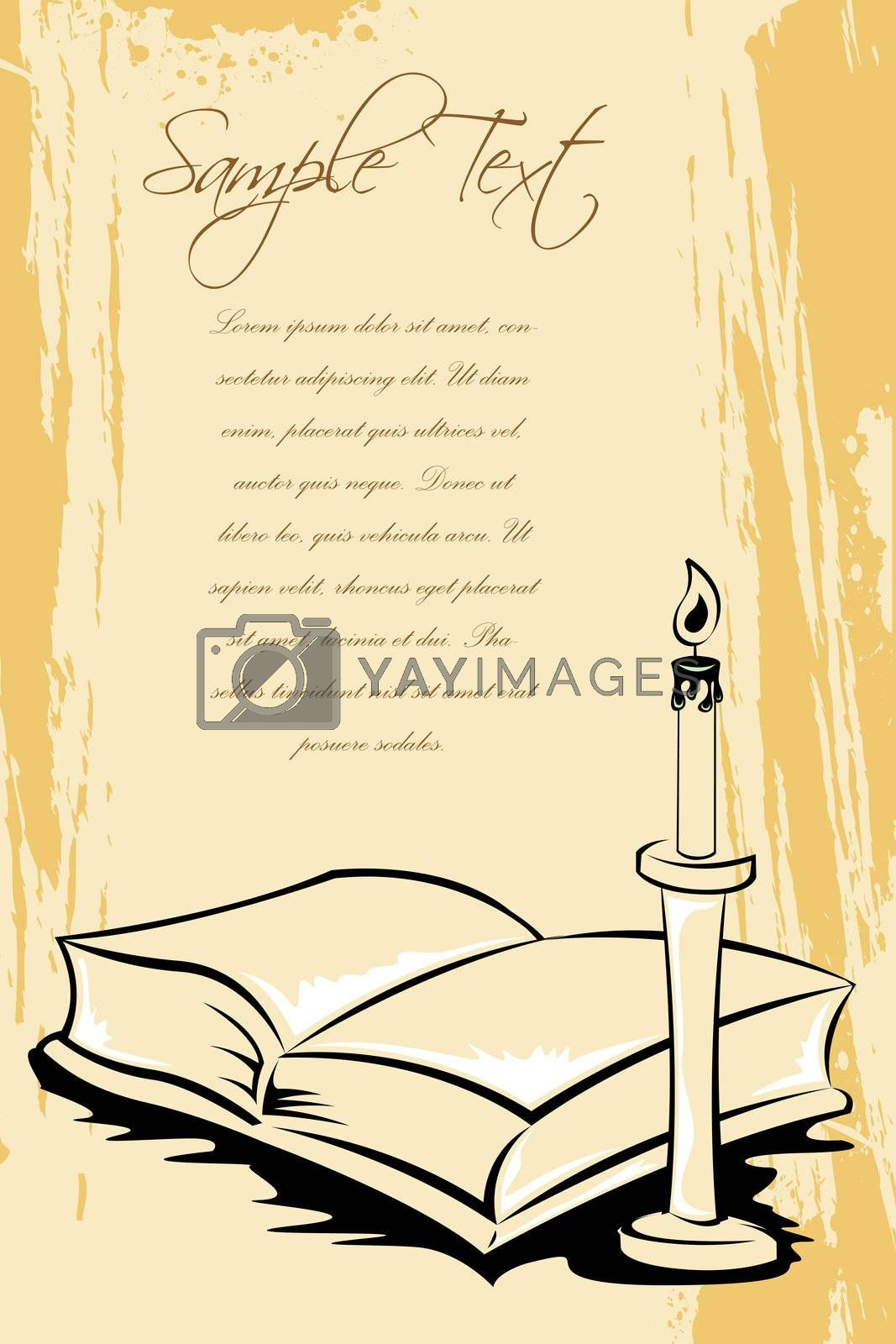 illustration of open book with candle stand on grungy background