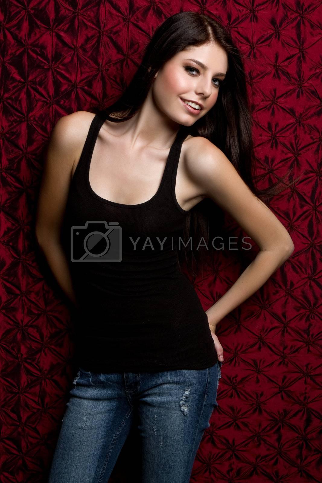 Beautiful smiling teen fashion girl