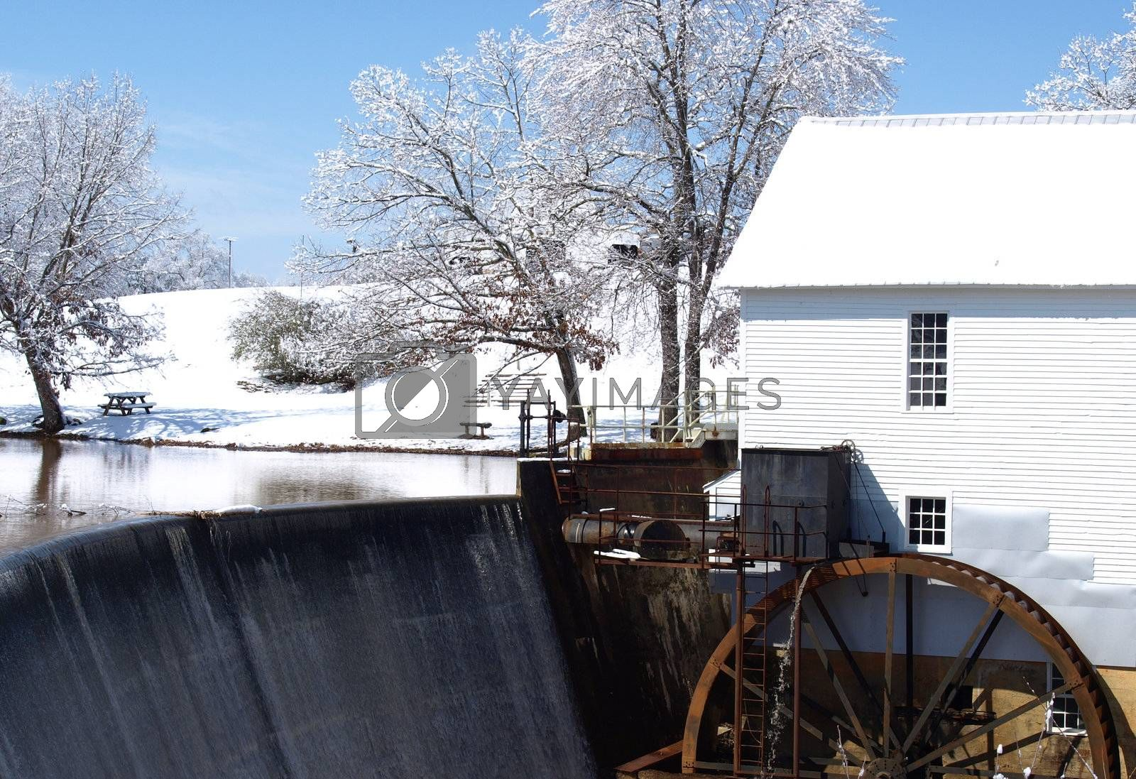 A mill during the winter of the year