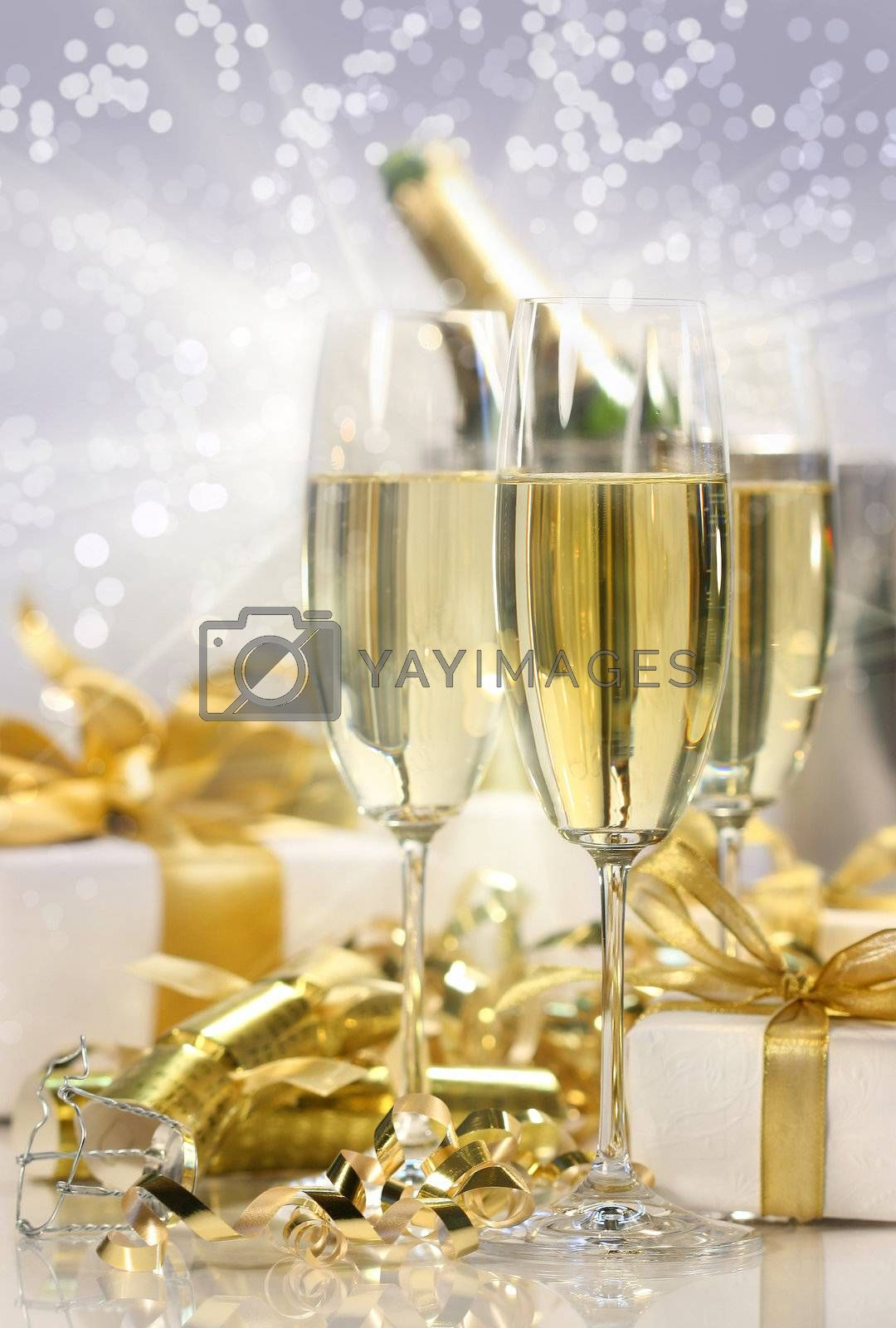 Champagne celebration with gifts for the new year