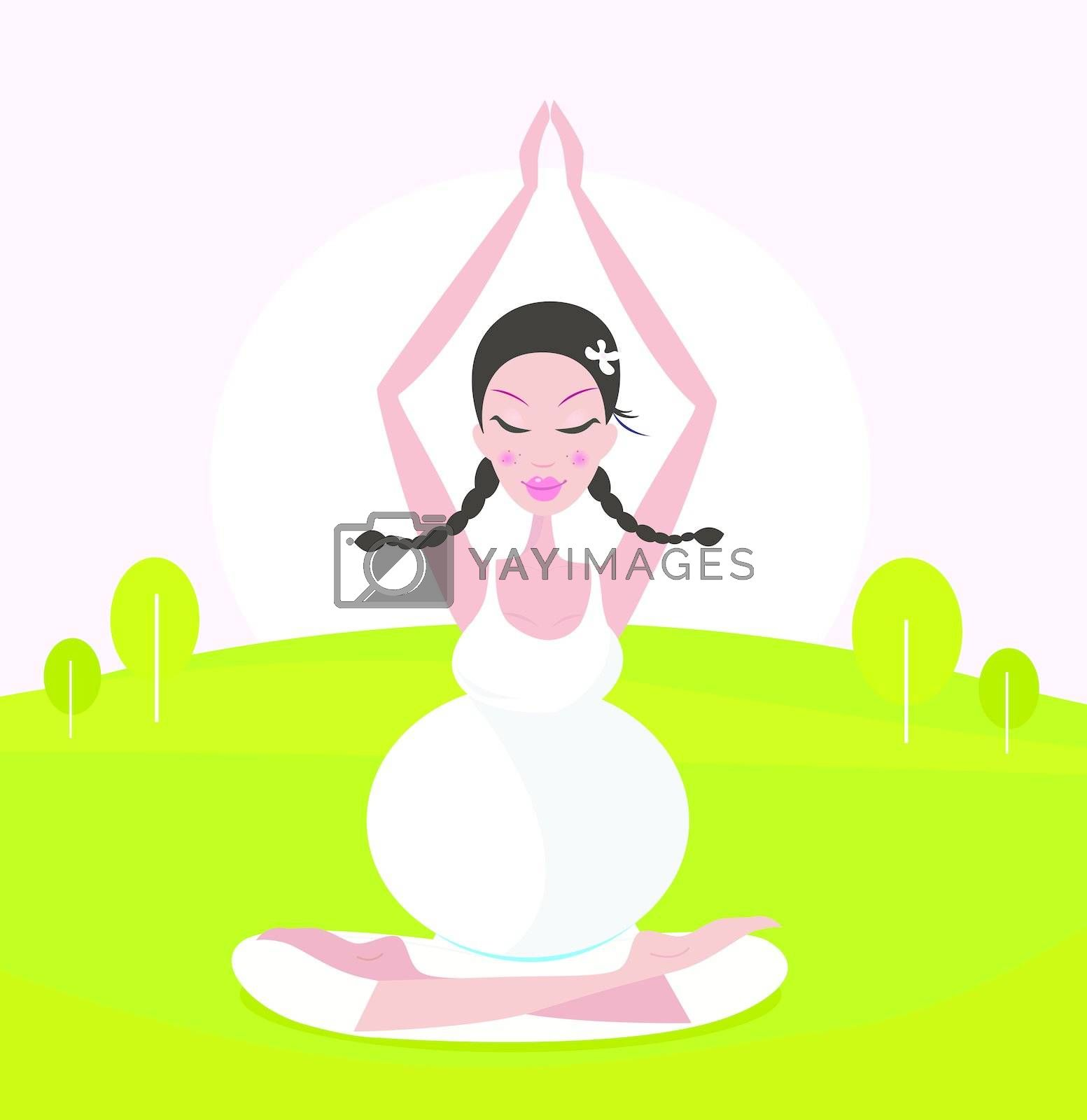 Relaxing pregnant woman in white dress meditating / practicing yoga in nature. Vector Illustration.