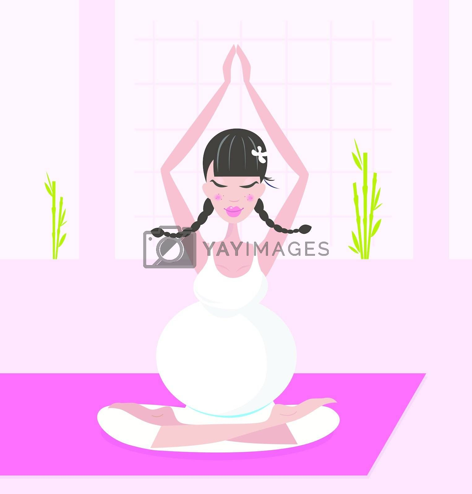 Relaxing pregnant woman in white dress meditating / practicing yoga in room. Vector Illustration.