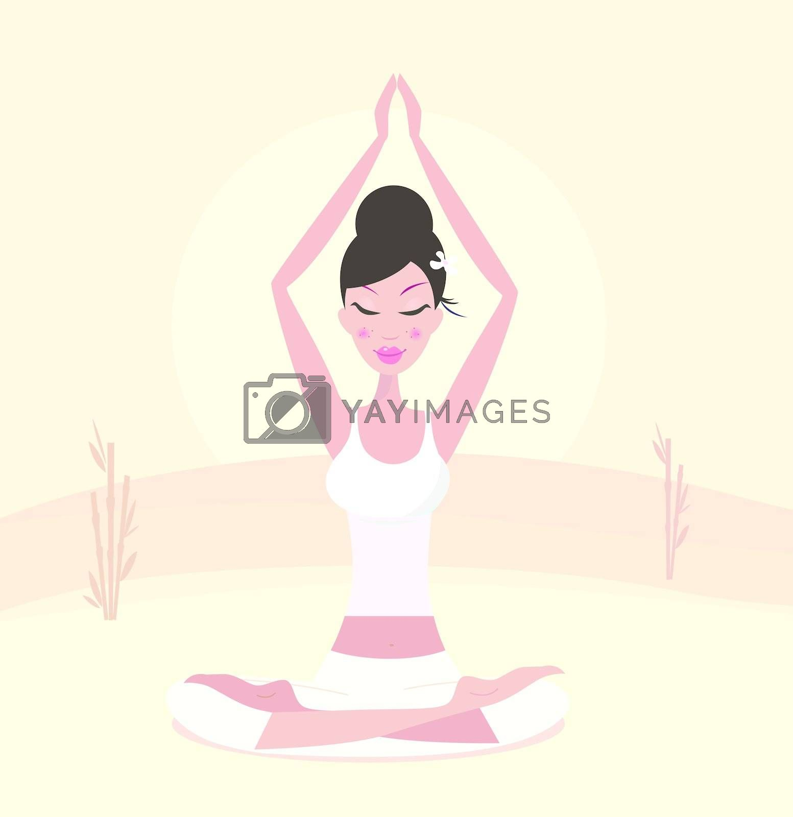Asia woman with black hair practicing meditation. Stylized vector Illustration in retro style
