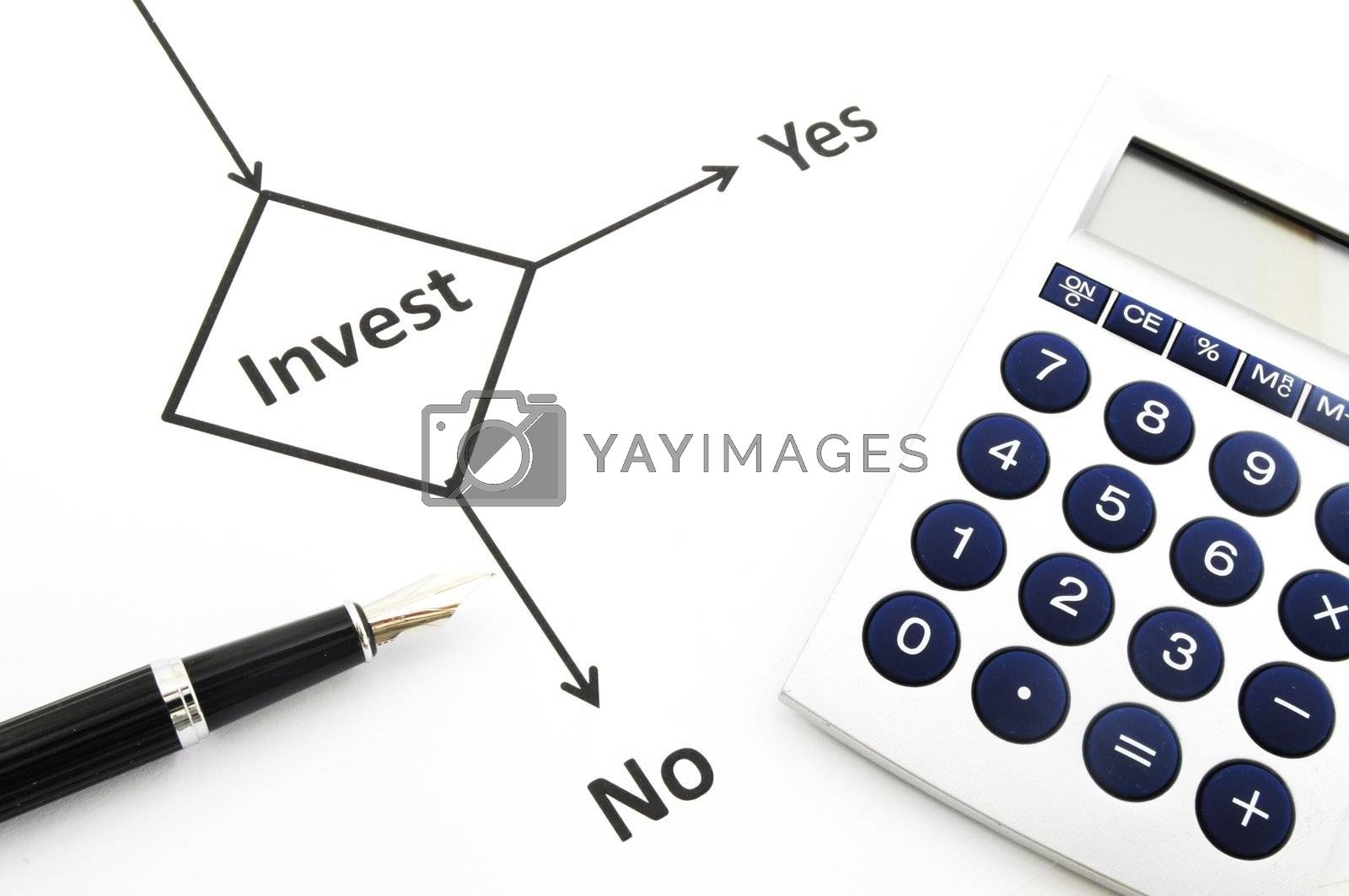 investment and flowchart showing business or finance concept