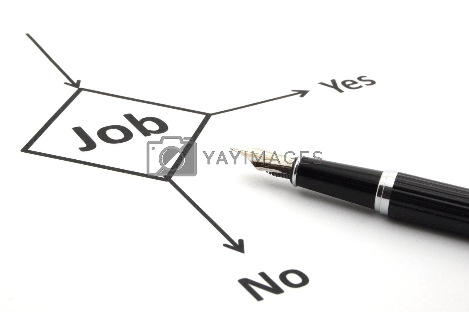 job work employment or unemployment concept with flowchart and pen