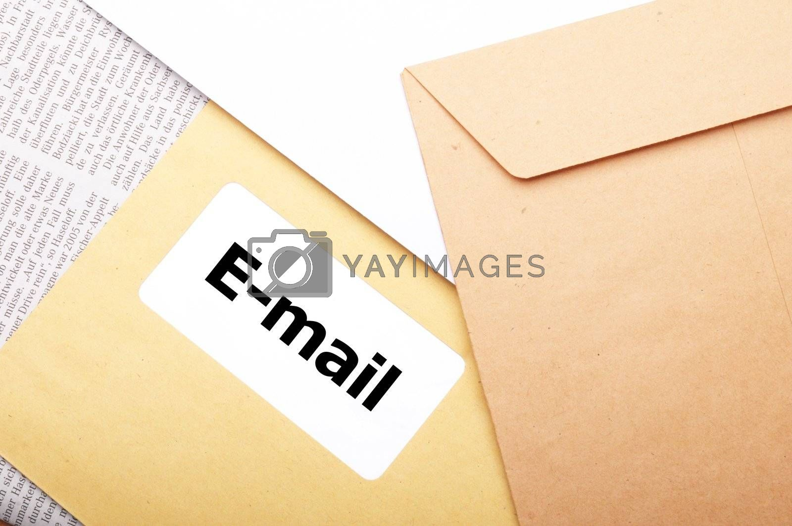 e-mail or internet communication concept with envelope an word