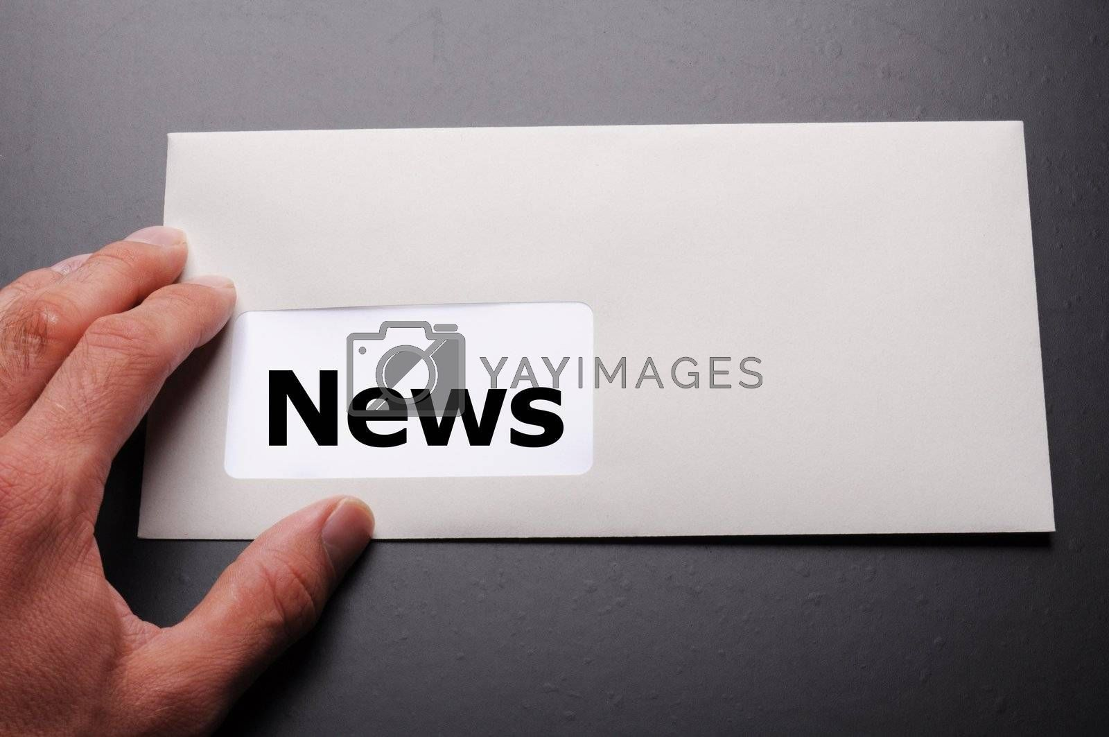 new or newsletter concept with envelope and word