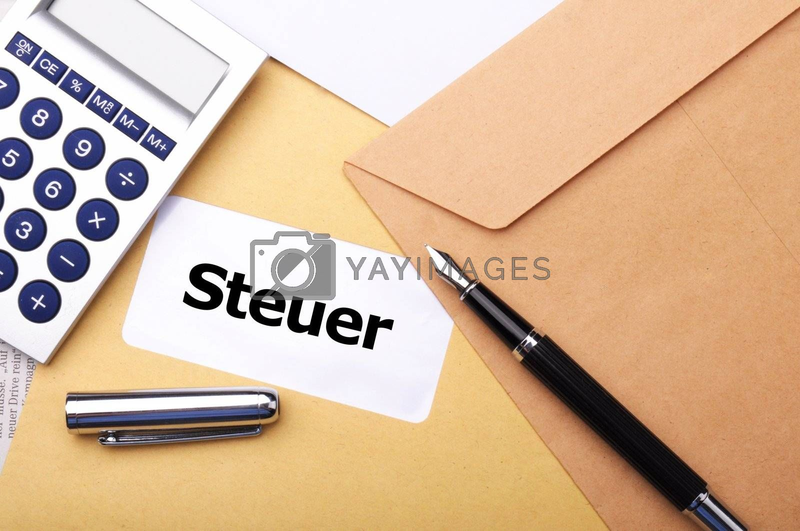 tax concept with mail letter or envelope fom treasure department