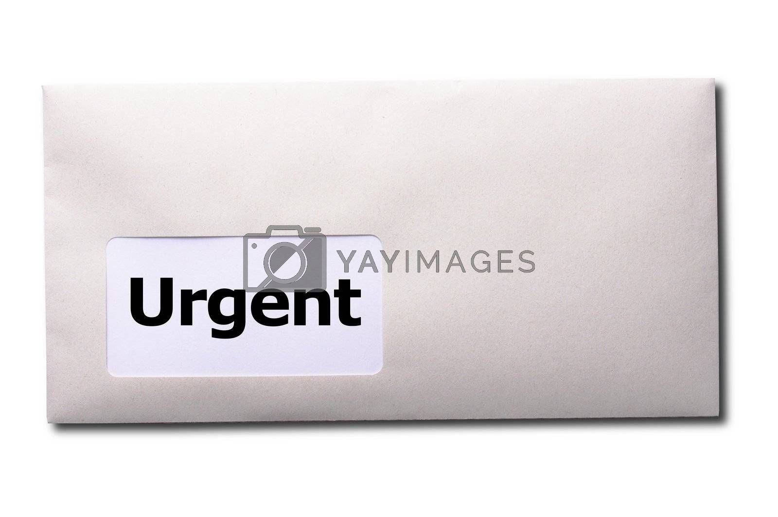 urgent delivery concept with envelope letter or mail and word