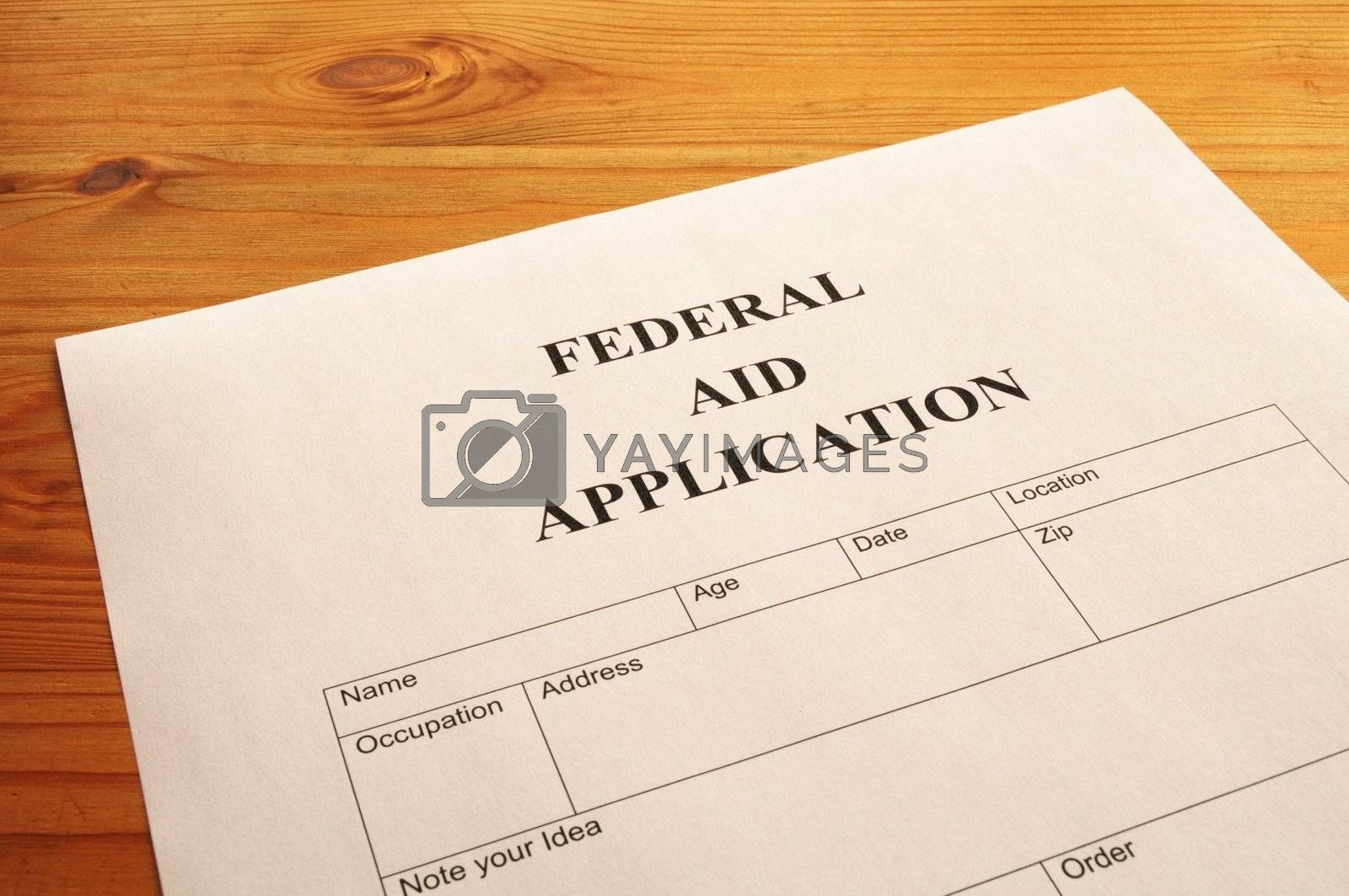 federal aid application for showing social security concept