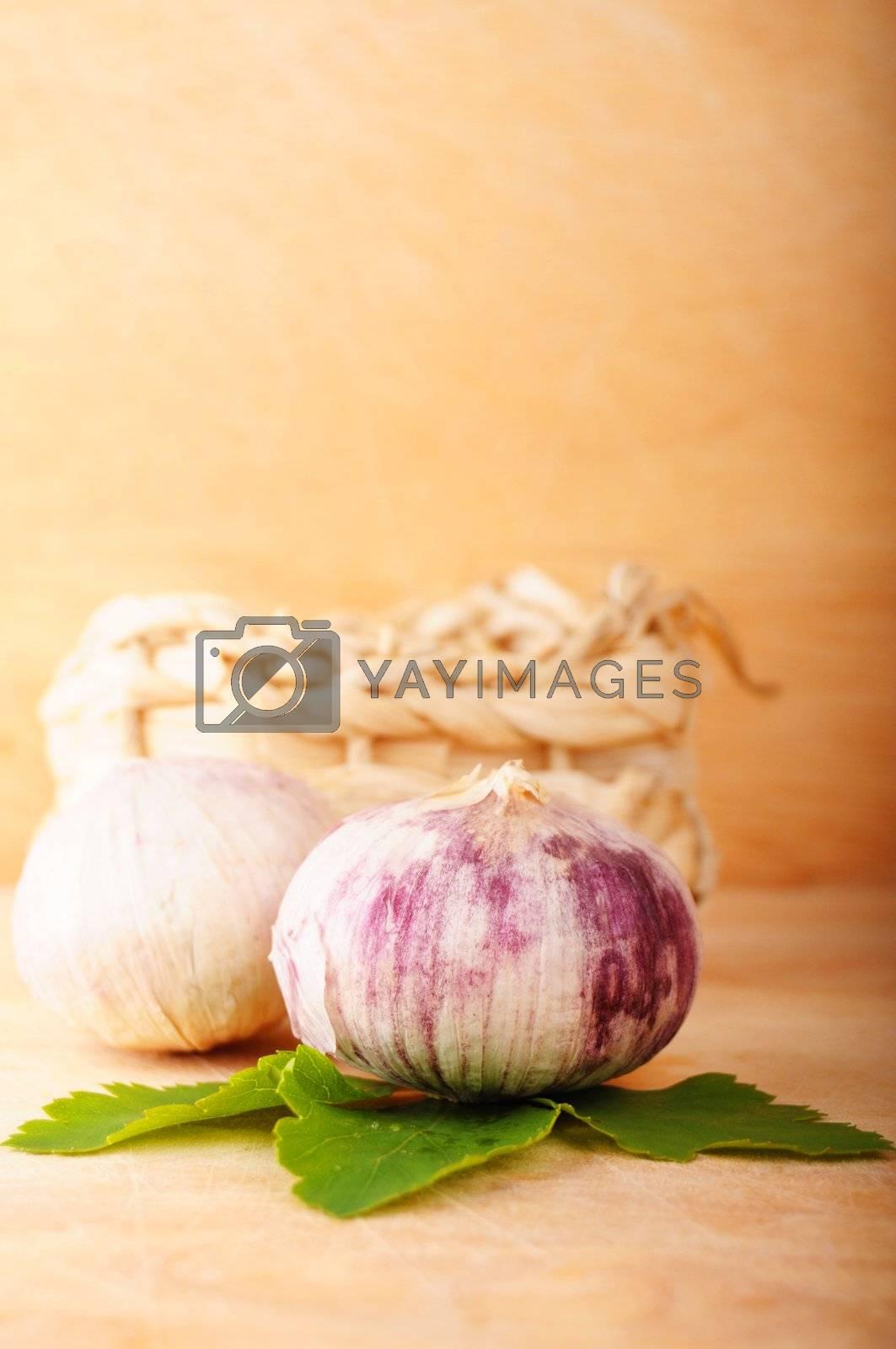 garlic and copyspace showing healthy food concept