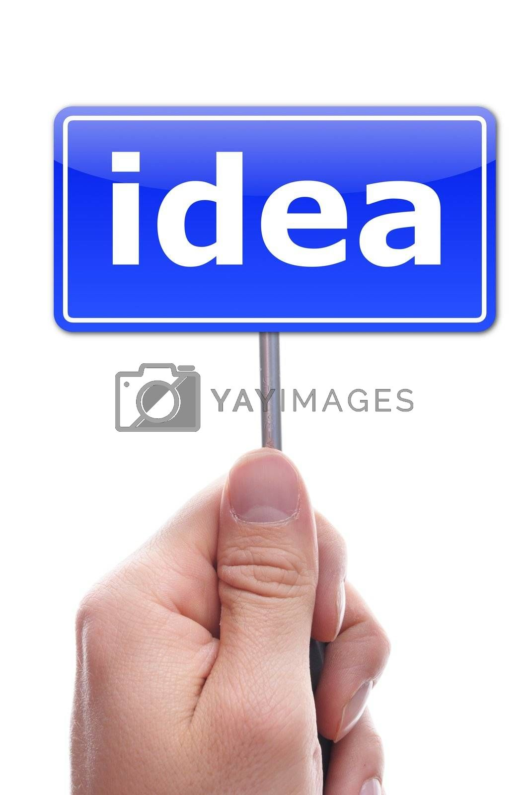 idea or creativity concept with hand and paper