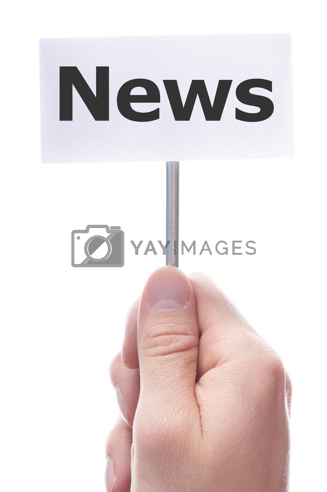 news concept with hand word and paper