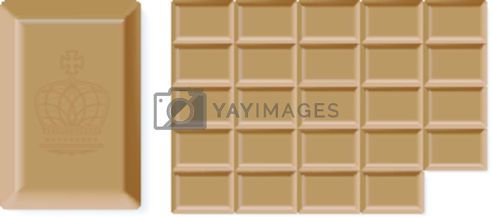 Realistic vector chocolate bar isolated on white background. Easy to rebuild row and column in bar