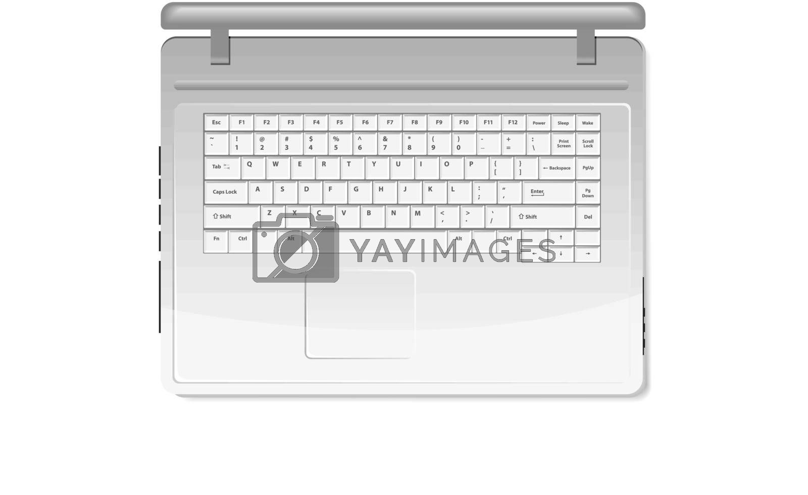 Realistic white laptop isolated on white background (top view)