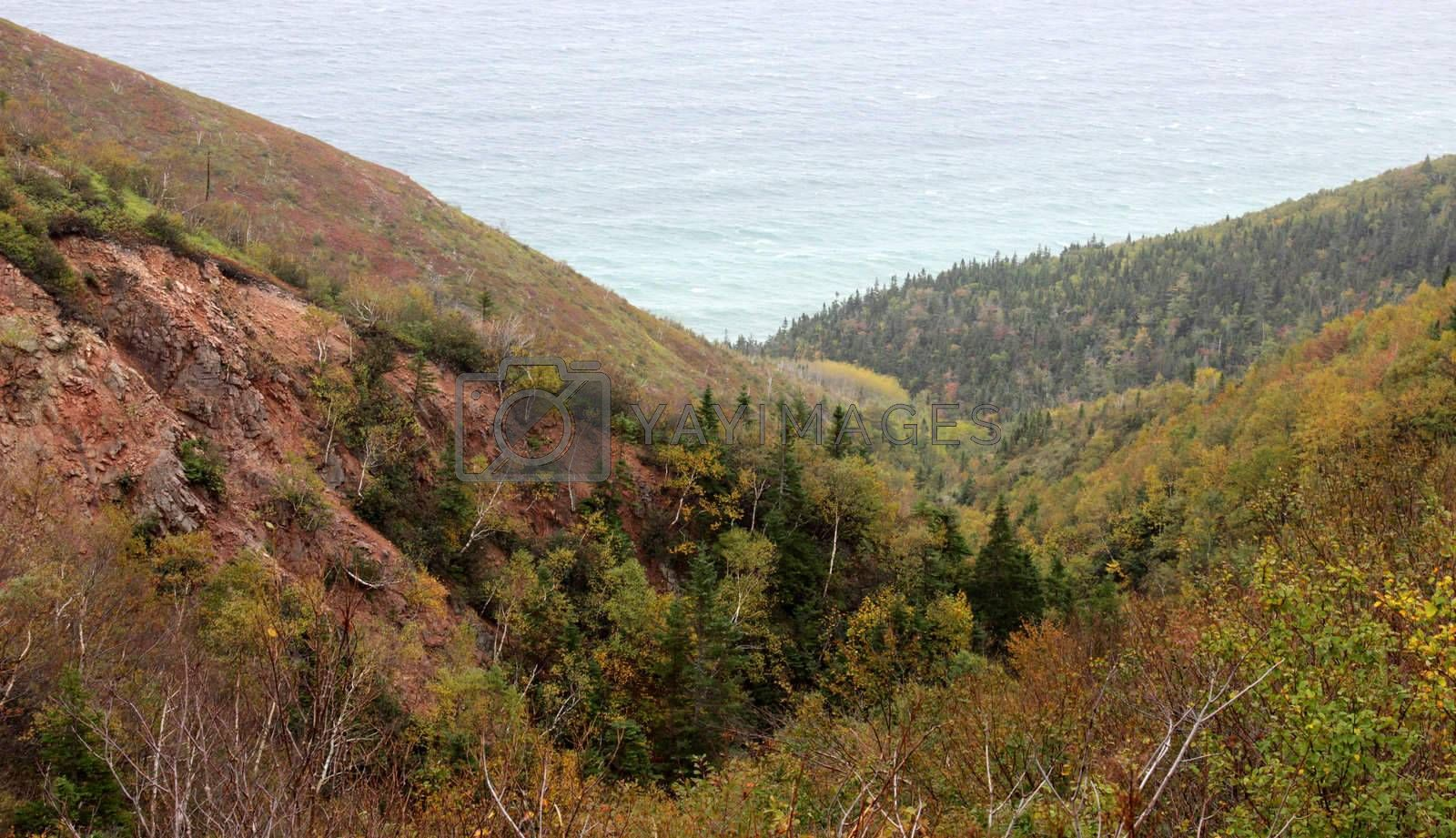 The rolling cliff like hills of Cape Breton Highlands national park in Nova Scotia, Canada.