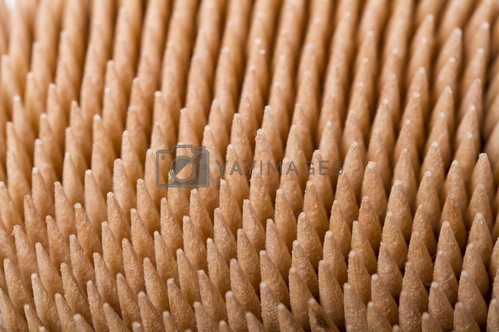 Macro view of a bunch of toothpicks inside a container.