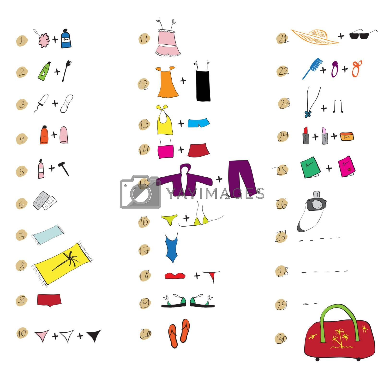 List of clothes for travel. See also similar work in my gallery