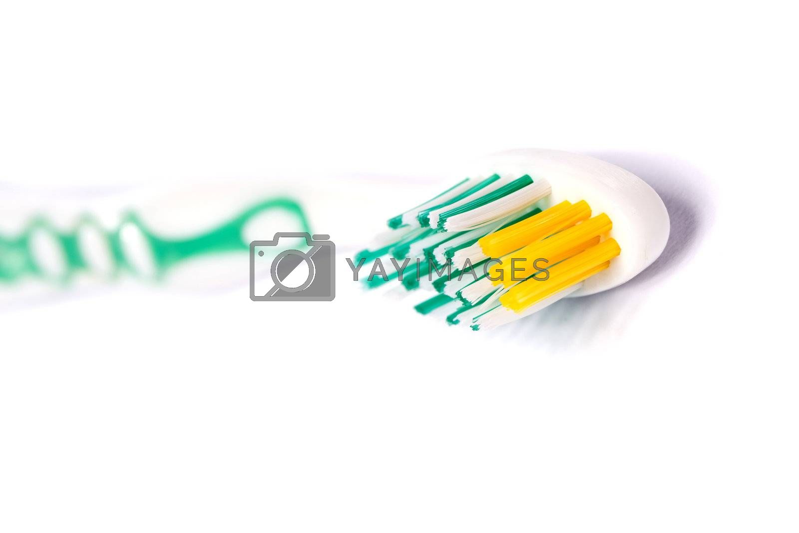 Close up view of a tooth brush isolated on a white background.
