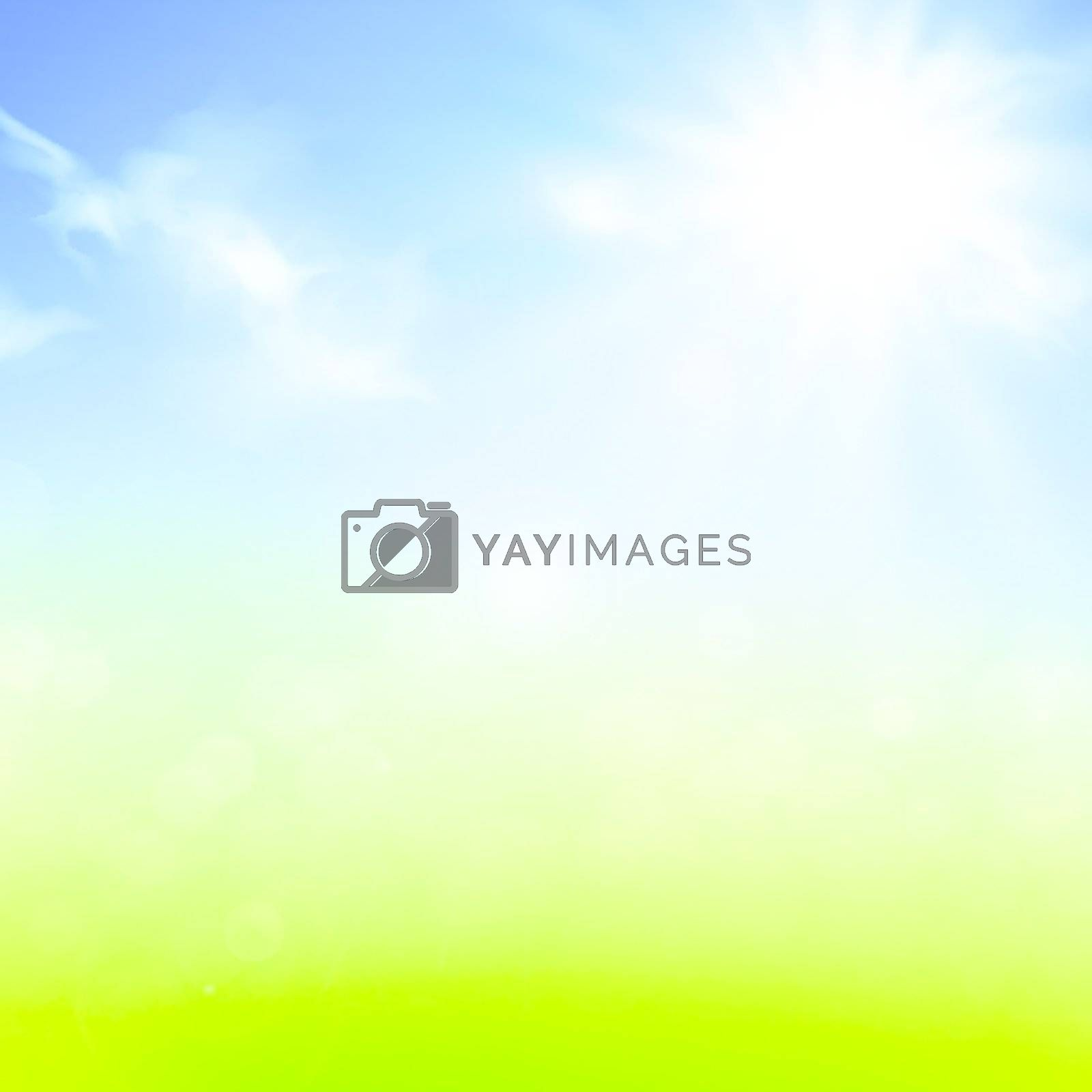 summer or spring background with blue sky and sun