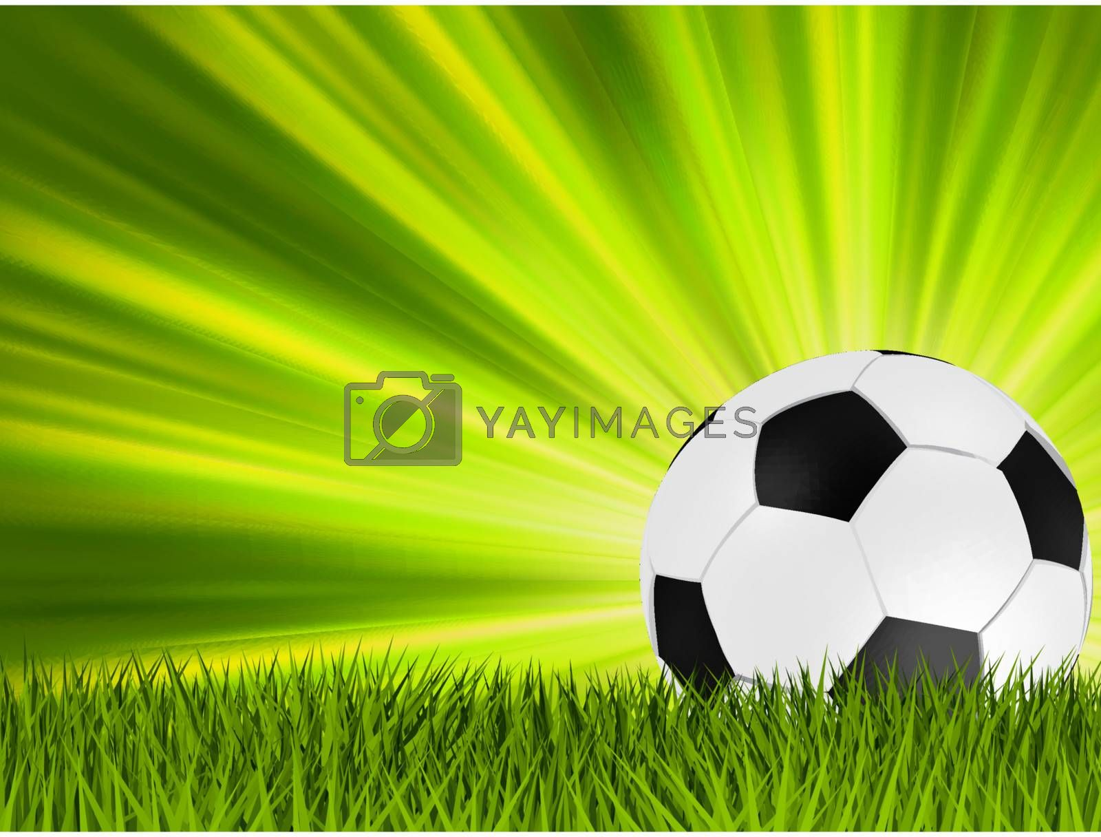 Football or soccer ball on grass with a starburst backgrond. EPS 8 vector file included
