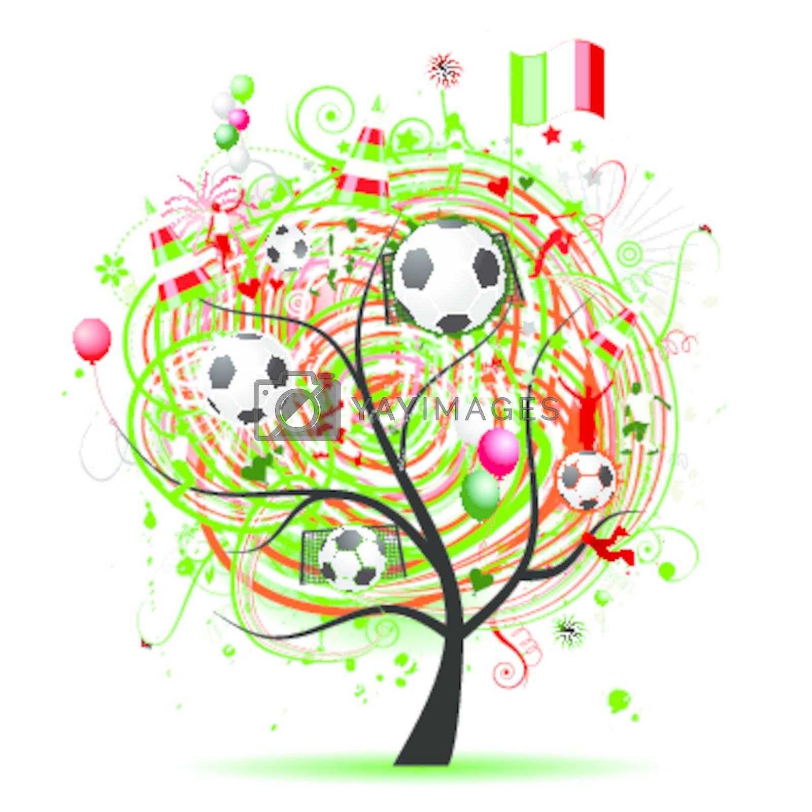 Royalty free image of Football tree design, Mexican flag by Kudryashka
