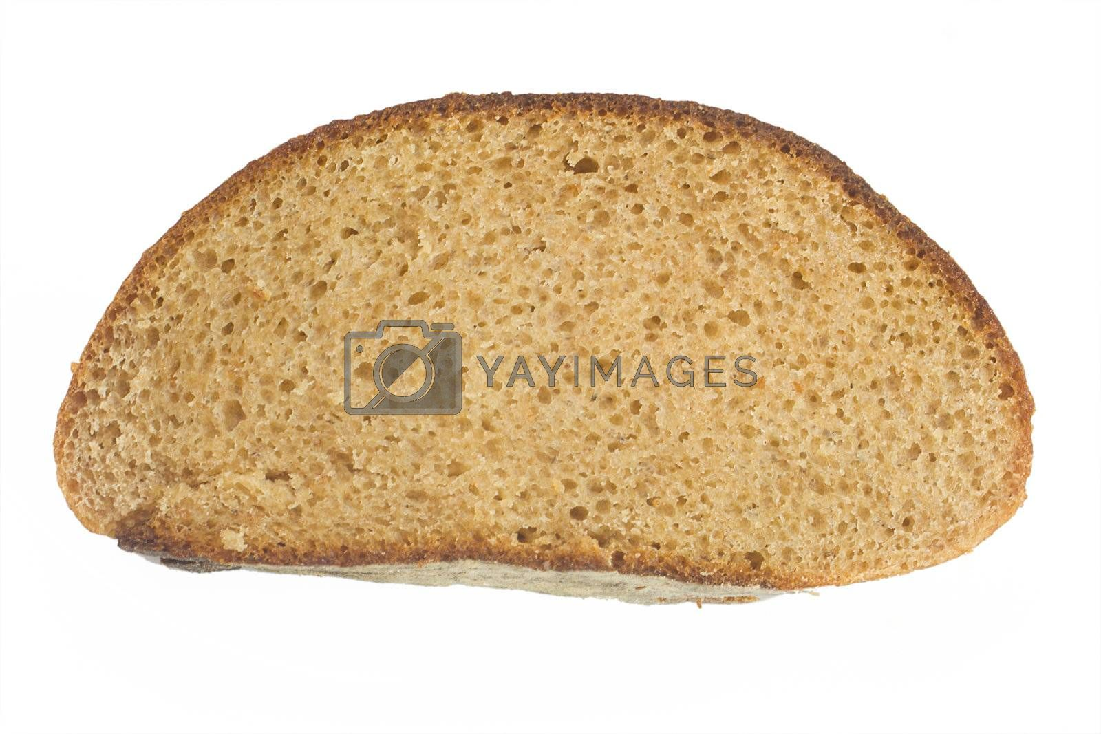 close-up round of bread, isolated on white