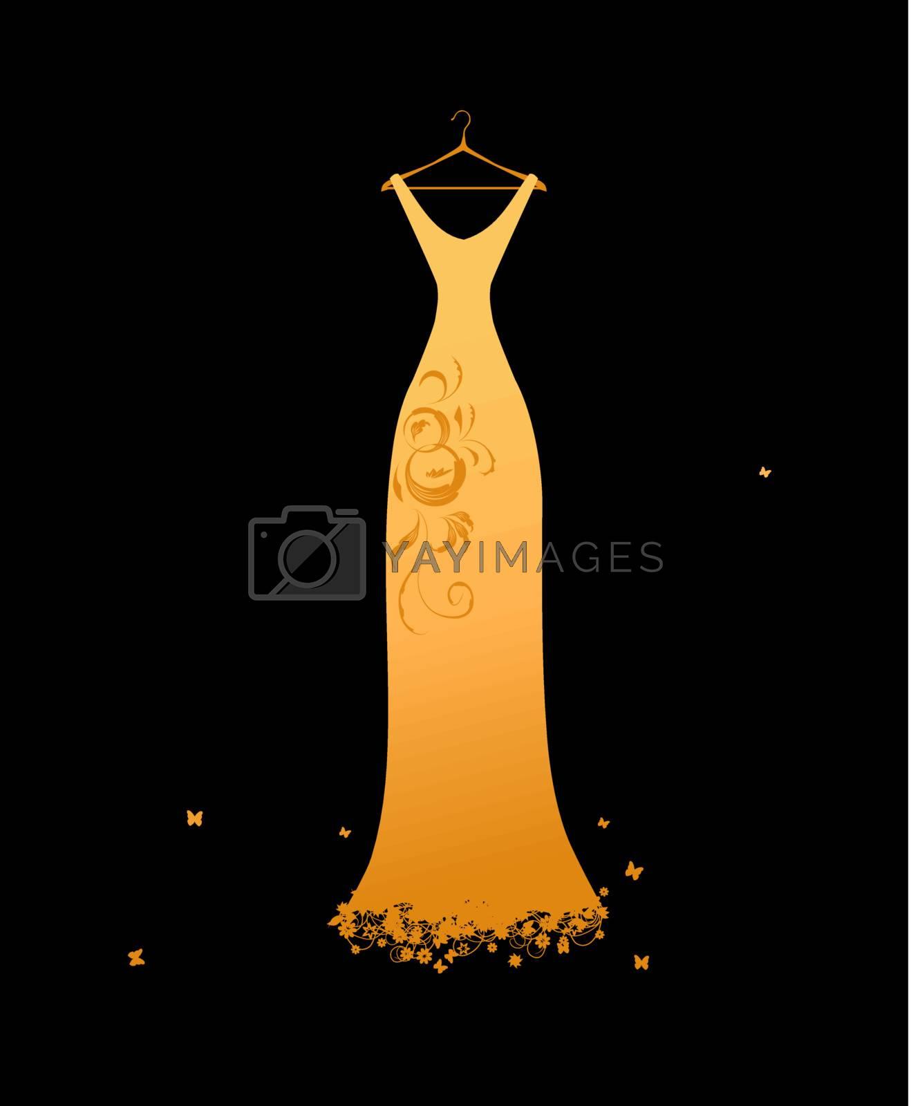 Royalty free image of Evening dress golden on hangers by Kudryashka