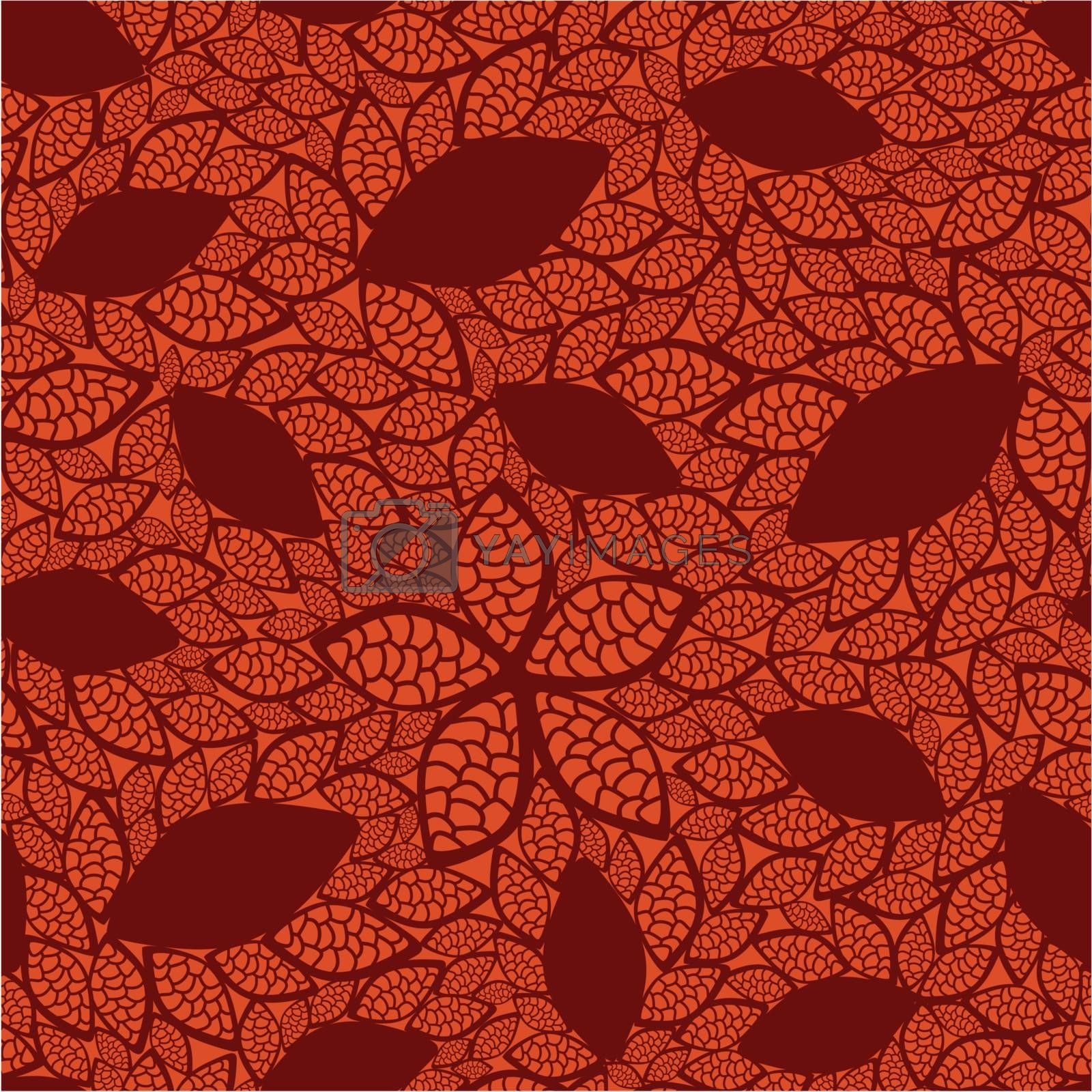 Seamless red leaves pattern on orange background. This image is a vector illustration. Please visit my portfolio for more similar illustrations.