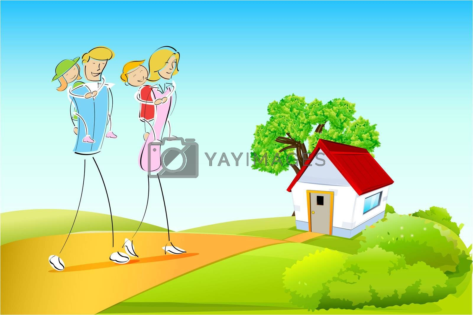 illustration of family on natural background