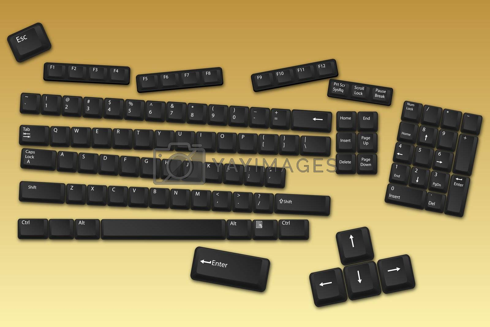 illustration of keyboard buttons on abstract background