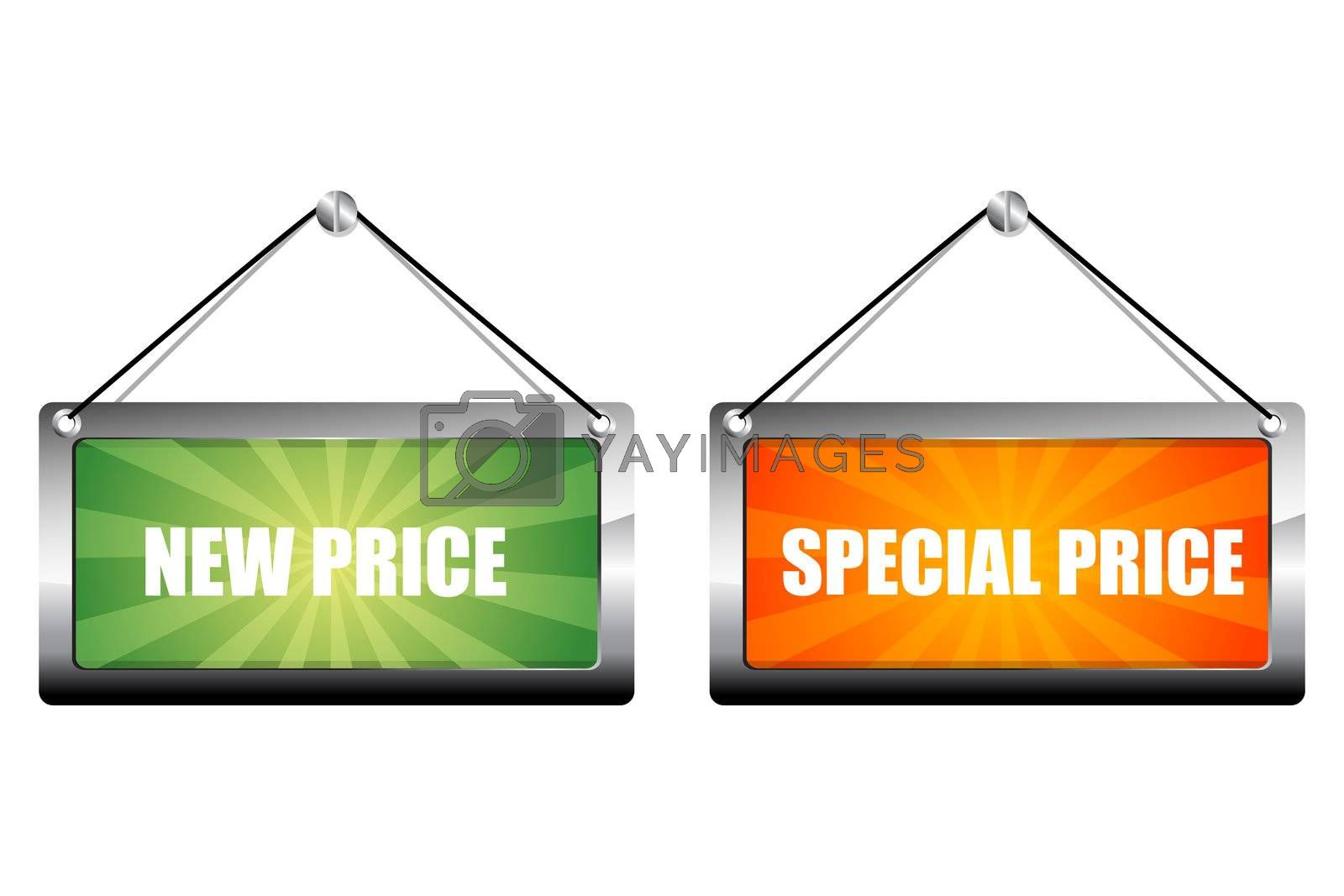 illustration of new and special price tags on white background