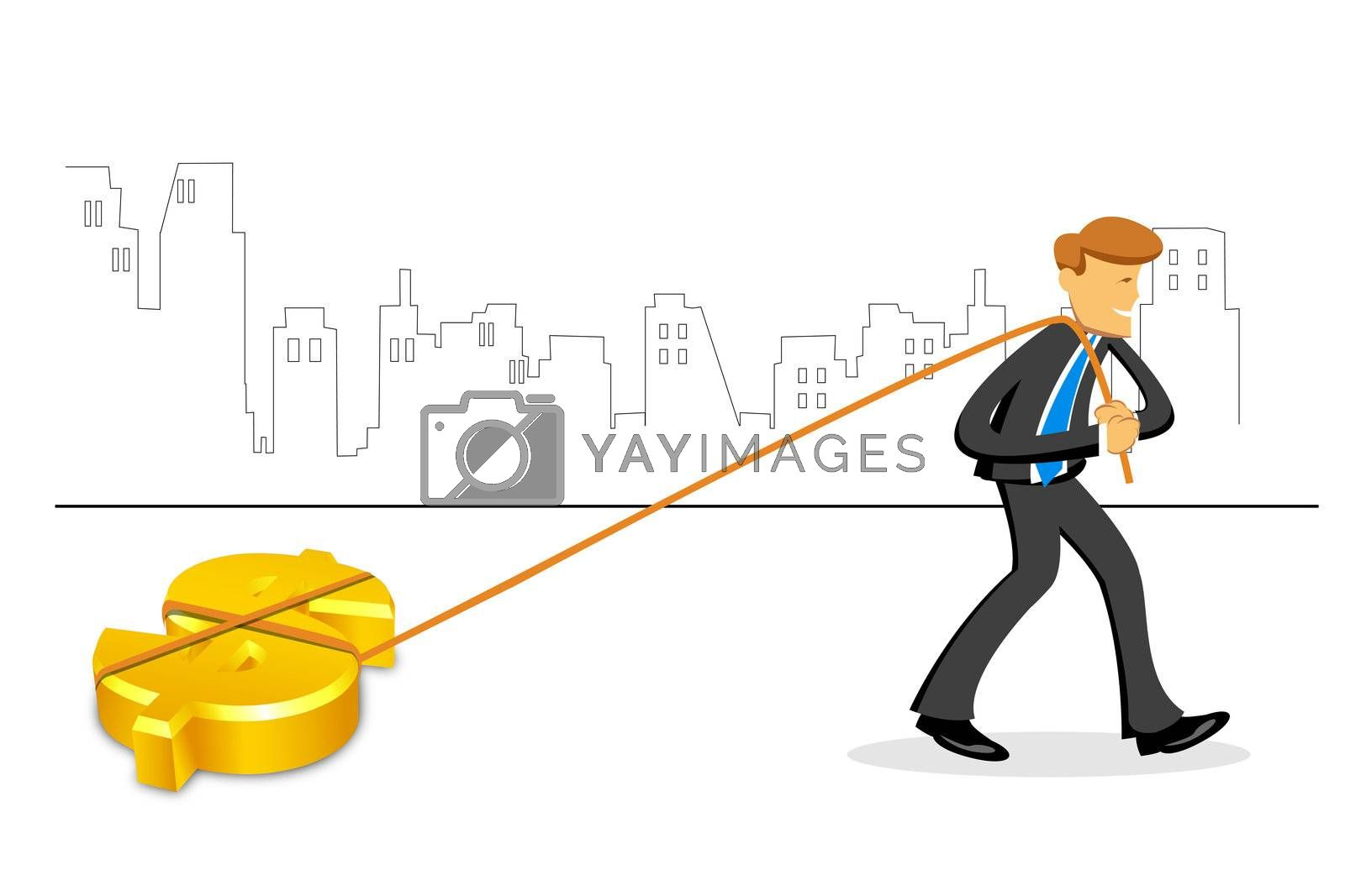 illustration of businessman with dollar on white background