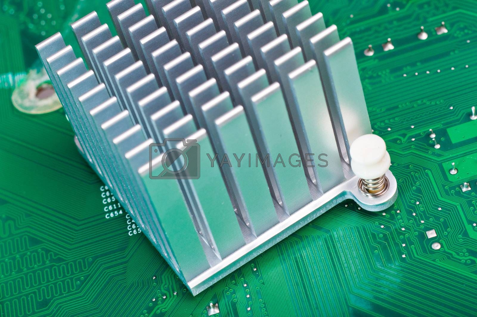 Royalty free image of Aliminium Heatsink on Circuit Board by timh