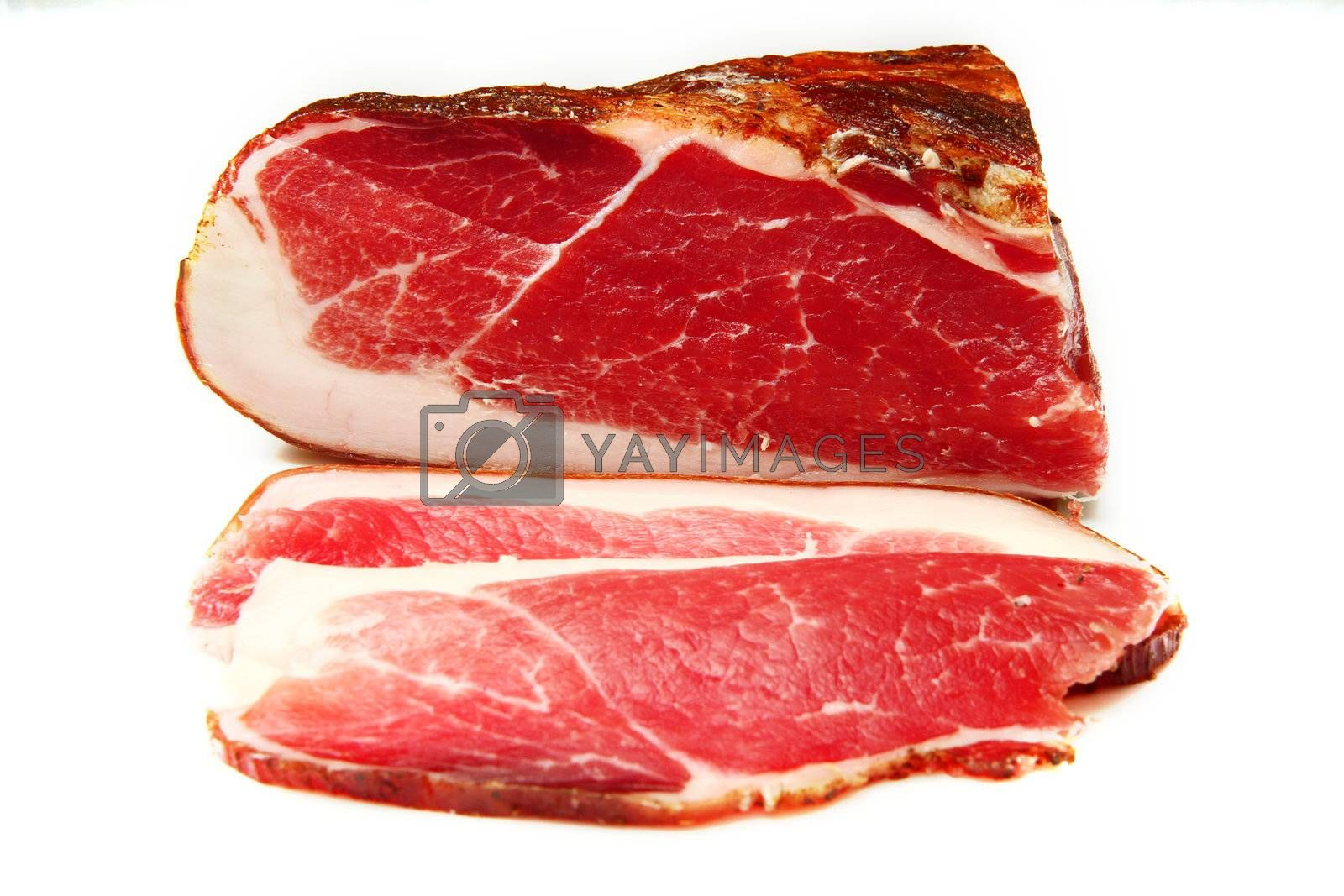A piece of speck, typical italian product