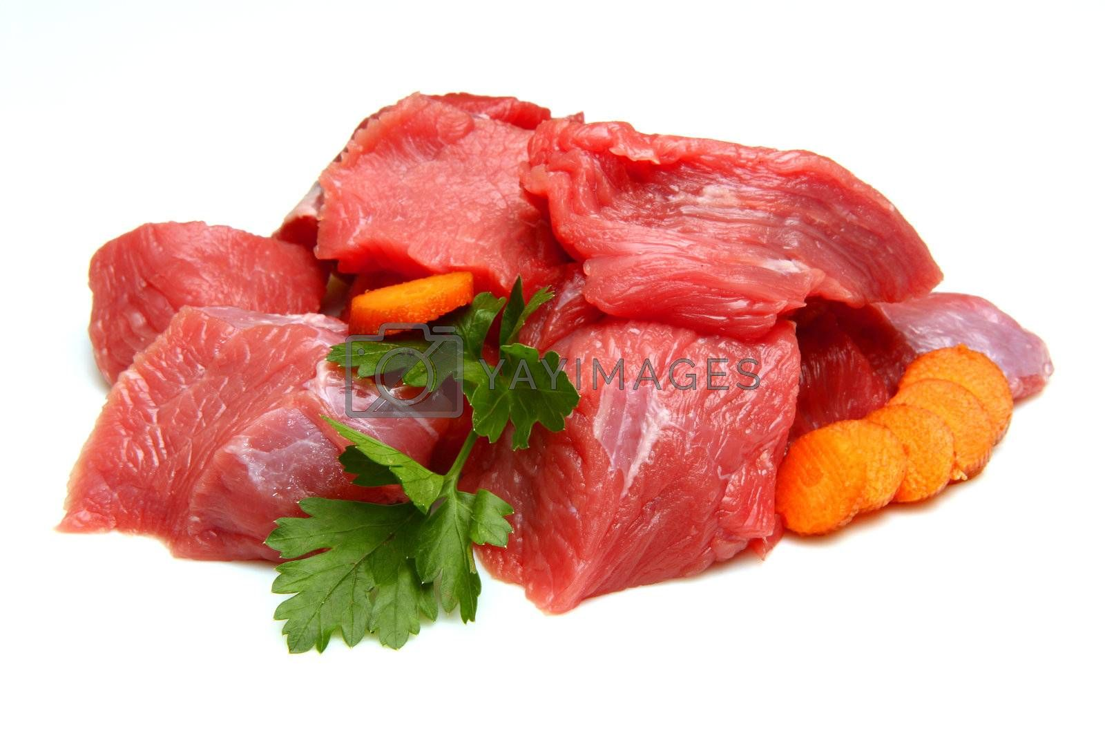Raw fresh meat sliced in cubes