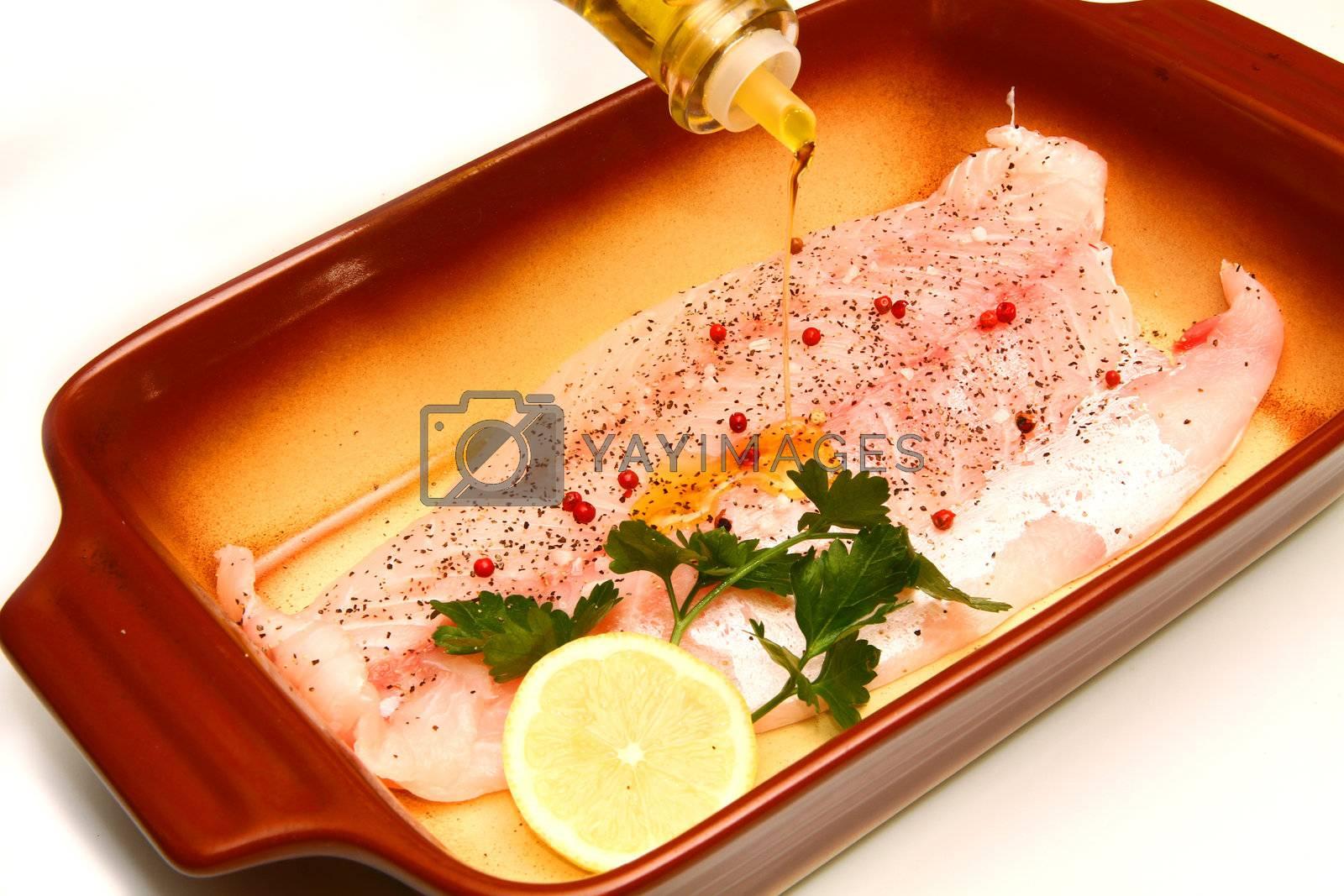 Fresh crude fish fillet