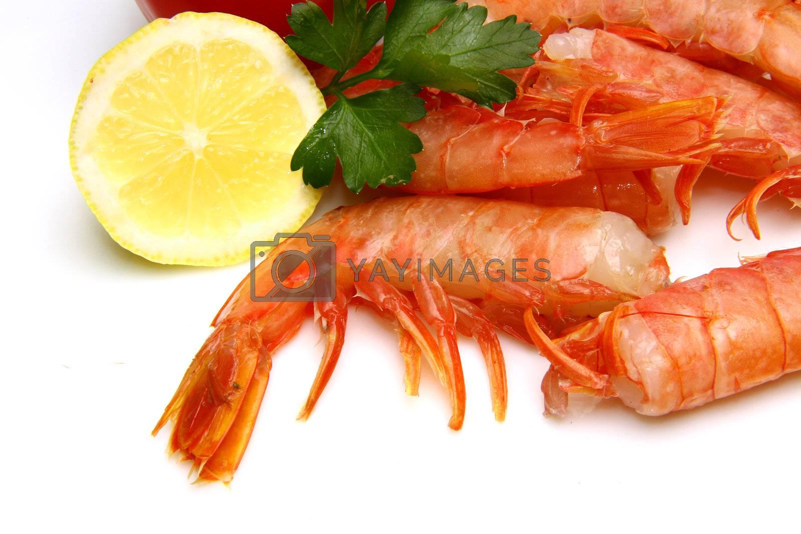 fresh shrimp withlemon slice