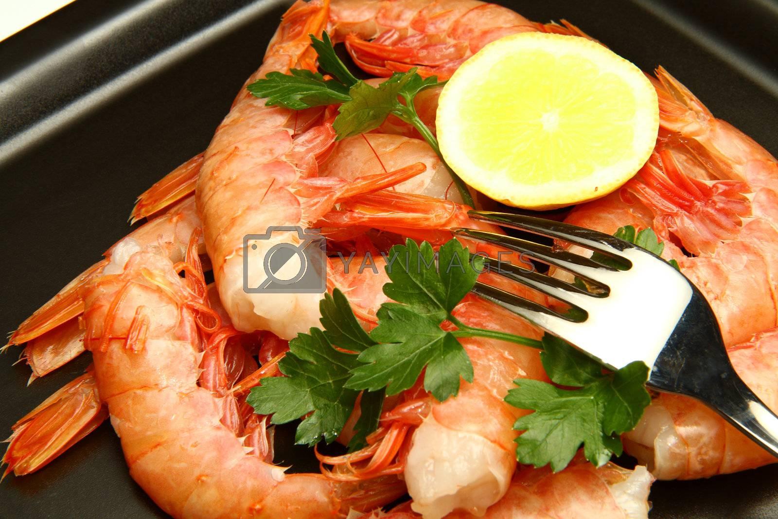 fresh shrimp salad with parsley and lemon