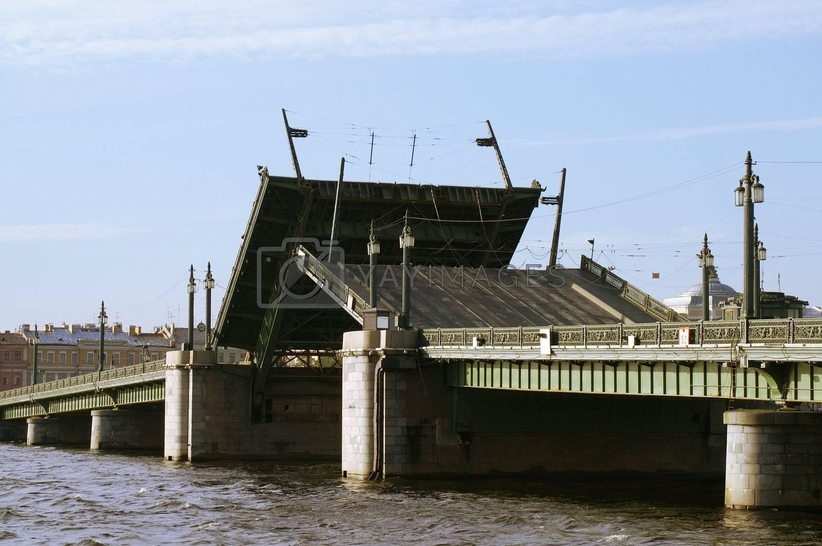 Raising the Schmidt's Bridge over Neva river in Saint Petersburg, Russia.